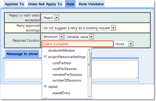 Booking Duration Rule